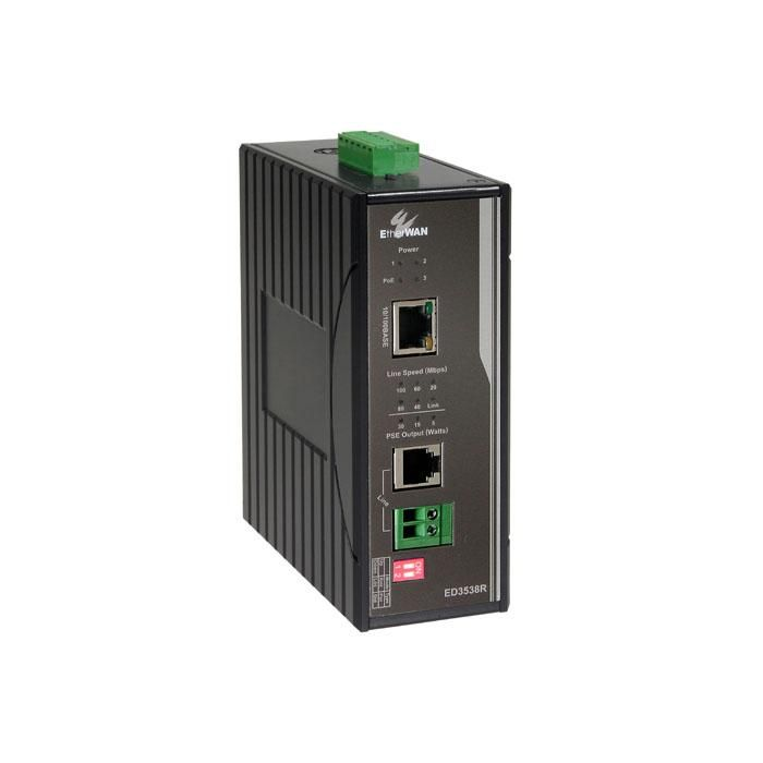 ED3538R - Receives power from a companion ED3538T and provides PoE on the Ethernet Port 30W